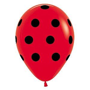 Balão de Festa Latex R12'' 30cm - Polka Dot Fashion Vermelho - 60 unidades - Sempertex Cromus - Rizzo Festas