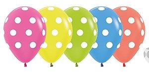 Balão de Festa Latex R12'' 30cm - Neon Sortido - 60 unidades - Sempertex Cromus - Rizzo Festas