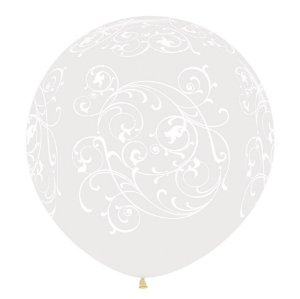 Balão de Festa Latex R36'' 91,5cm - Cristal Arabesco Filigree - 02 unidades - Sempertex Cromus - Rizzo Festas