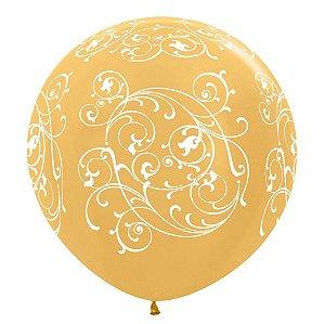 Balão de Festa Latex R36'' 91,5cm - Metal Arabesco Filigree Dourado - 02 unidades - Sempertex Cromus - Rizzo Festas