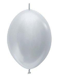 Balão de Festa Latex Link-o-Loon 12'' 29cm - Satin Prata - 50 unidades - Sempertex Cromus - Rizzo Festas
