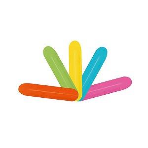 """Balão de Festa Twist 260"""" 05x150cm - Fashion Sólido Sortido Tropical - 50 unidades - Sempertex Cromus - Rizzo Festas"""