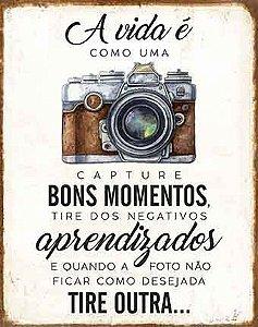 Plaquinha de MDF Câmera Fotográfica A Vida É... 19x24cm - 01 unidade - LitoArte - Rizzo Embalagens