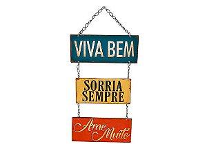 Plaquinha Decorativa MDF Viva Bem... - LitoArte - Rizzo Embalagens