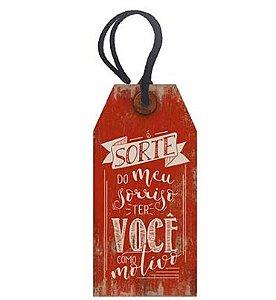 Tag Decorativa MDF Sorte - LitoArte - Rizzo Embalagens