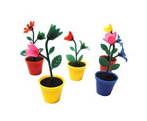 Mini Brinquedo Vasinho com Flor Colorido Sortido - 6 x 2,3cm - 15 Unidades - Dodo Brinquedos - Rizzo Embalagens