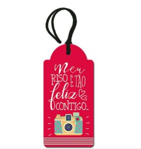 Tag Decorativa MDF Feliz - LitoArte - Rizzo Embalagens
