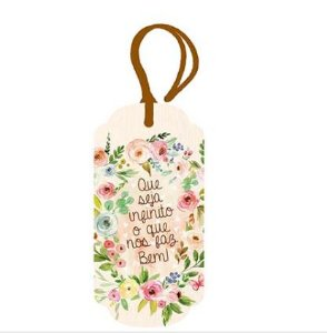 Tag Decorativa MDF Flores - LitoArte - Rizzo Embalagens
