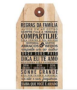 Plaquinha de MDF Regras da Familia... 19x35cm - 01 unidade - LitoArte - Rizzo Embalagens