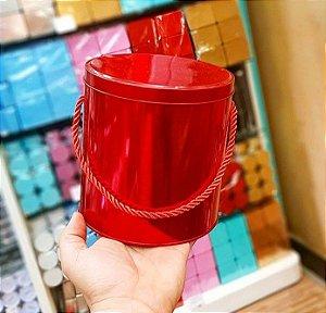Lata Redonda para Lembrancinha com Alça Vermelha - 14 x 14cm - Artegift - Rizzo Embalagens