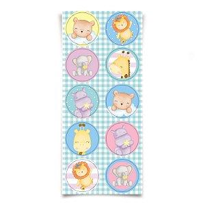 Adesivo Redondo para Lembrancinha Festa Bichinhos Baby - 30 unidades - Cromus - Rizzo Festas