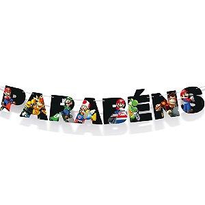 Faixa Parabéns Festa Mario Kart - Cromus - Rizzo Festas