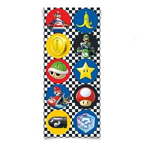 Adesivo Redondo para Lembrancinha Festa Mario Kart - 30 unidades - Cromus - Rizzo Festas