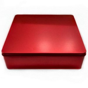 Lata Quadrada para Lembrancinha Vermelha - 20 x 20cm - Artegift - Rizzo Embalagens