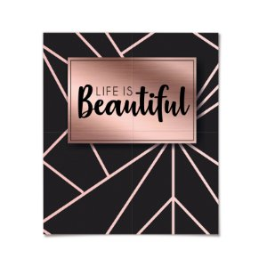 Painel Life is Beautifull Festa Rose Gold - Cromus - Rizzo Festas