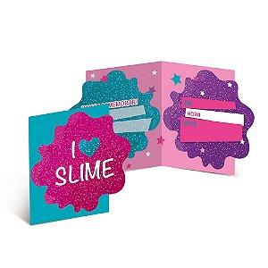 Convite Festa Slime - 8 unidades - Cromus - Rizzo Festas