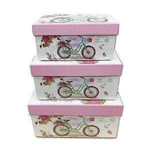 Kit Caixa Presente Bicicleta com Flores - 22x15x11cm - 3 Unidades - Rizzo Festas