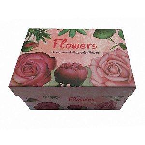 Kit Caixa Presente Flores - 15,5x11x8cm - 3 Unidades - Rizzo Festas