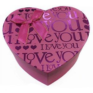 Kit Caixa Presente Coração Rosa - 21,5x20,5x9cm - 3 Unidades - Rizzo Festas