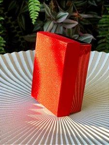 Caixa Presente Retangular com Tampa de Glitter Vermelho - 7x9,5x4cm - 12 Unidades - Artlille Rizzo Festas
