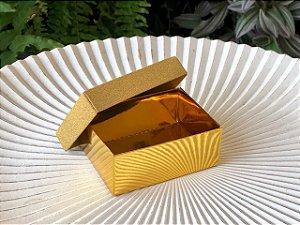 Caixa Presente Retangular com Tampa de Glitter Ouro - 7x9,5x4cm - 12 Unidades - Artlille Rizzo Festas