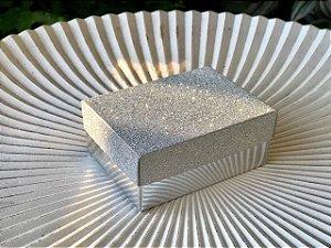Caixa Presente Retangular com Tampa de Glitter Prata - 7x9,5x4cm - 12 Unidades - Artlille Rizzo Festas