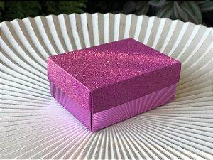 Caixa Presente Retangular com Tampa de Glitter Lilás - 7x9,5x4cm - 12 Unidades - Artlille Rizzo Festas