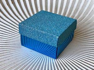 Caixa Presente Quadrada com Tampa de Glitter Azul - 6,5x6,5x4cm - 12 Unidades - Artlille Rizzo Festas