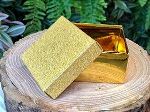 Caixa Presente Quadrada com Tampa de Glitter Ouro - 6,5x6,5x4cm - 12 Unidades - Artlille Rizzo Festas