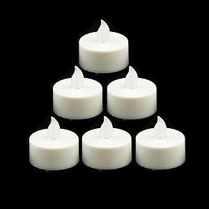 Vela Eletrônica Luz Branca com Bateria - 3,7 x 3,7 x 4,5cm - 6 Unidades - Rizzo Festas