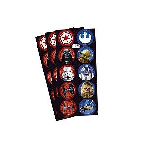 Adesivo Redondo para Lembrancinha Festa Star Wars - 30 unidades - Regina - Rizzo Festas