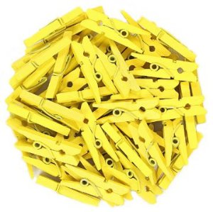 Mini Prendedor de Madeira Amarelo 3,5cm - 50 Unidades