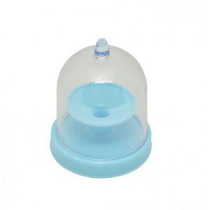 Mini Cúpula em Acrílico com Base Azul 6,5cm - 10 unidades - Rizzo Festas