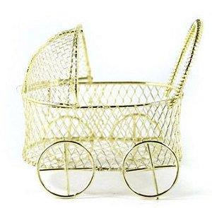 Mini Carrinho de Bebê Aramado Dourado 6,5cm - 1 unidade - Rizzo Festas
