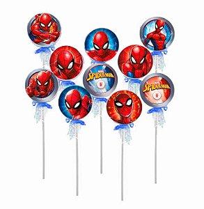 Pirulito Lembrancinha Festa Spiderman - 10 unidades - Rizzo Festas