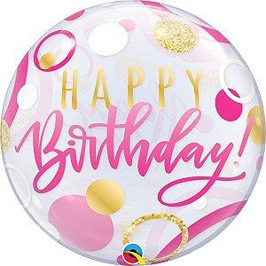 Balão Bubble Transparente Aniversário Rosa e Pontos Dourados - 22'' 56cm - Qualatex - Rizzo festas