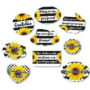 Kit Plaquinhas Festa Girassol - 9 unidades - Festcolor - Rizzo Festas
