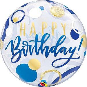 Balão Bubble Transparente Aniversário Azul e Pontos Dourados - 22'' 56cm - Qualatex - Rizzo festas