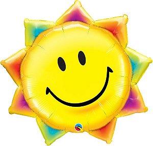 Balão Metalizado Raio de sol e Carinha Sorridente - 35'' 89cm - Qualatex - Rizzo festas