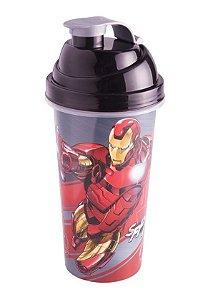 Shakeira de Plástico Cinza Avengers Homem de Ferro - 580ml - 01 unidade - Plasútil - Rizzo Festas