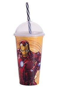 Copo Shake Plástico Homem de Ferro - 500ml - 01 unidade - Plasútil - Rizzo Festas