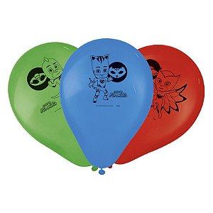"""Balão Festa PJ Masks 9"""" - 25 unidades - Regina - Rizzo Festas"""