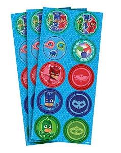 Adesivo Redondo para Lembrancinha Festa PJ Masks - 30 unidades - Regina - Rizzo Festas