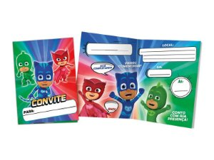 Convite Festa PJ Masks - 10cm x 15cm - 8 unidades - Regina - Rizzo Festas