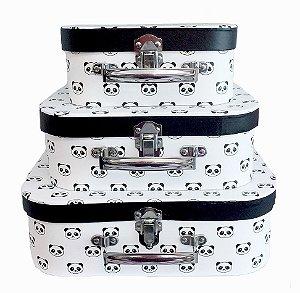 Kit Maleta Panda 30x21,3x9,5cm - 03 Unidades - ArtLille