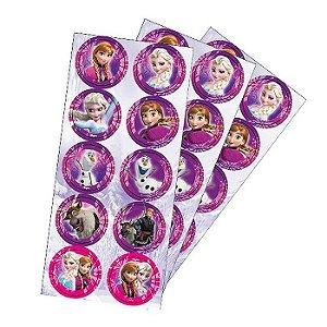 Adesivo Redondo para Lembrancinha Festa Frozen - 30 unidades - Regina - Rizzo Festas