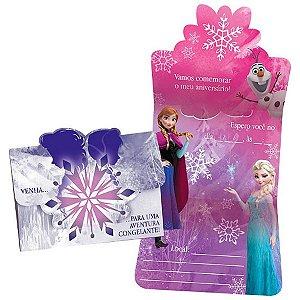 Convite Festa Frozen - 10cm x 11cm - 08 unidades - Regina - Rizzo Festas