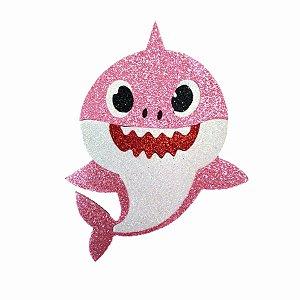 Aplique de EVA Baby Shark Glitter Rosa 13 x 11 cm - 01 Unidade - Make Festas Rizzo Festas