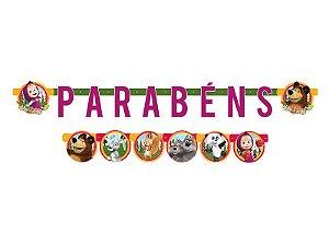 Faixa Parabéns Festa Masha e o Urso - 01 unidade - Regina - Rizzo Festas
