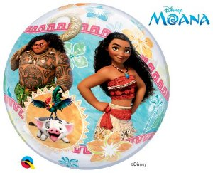 Balão Bubble Transparente Disney Festa Moana - 22'' 56cm - Qualatex - Rizzo festas